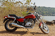 Two Wheeler Photo Prints - Backless Cruiser Lakeside Print by Kantilal Patel