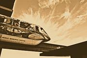 Backlit Disney World Monorail Leaving Contemporary Resort Walt Disney World Prints Rustic Print by Shawn OBrien