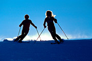 Ski Photos - Backlit Skiers Two by Vance Fox