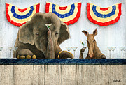 Republican Painting Framed Prints - Backroom politics... Framed Print by Will Bullas