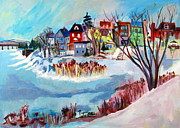 Red White And Blue Paintings - Backside of Schenectady Stockade in February by Betty Pieper