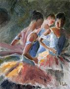 Ballet Dancers Painting Prints - Backstage Costume Change Print by Ann Radley