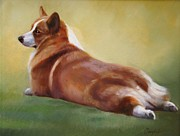 Corgi Prints - Backward Glance Print by Janet  Crawford