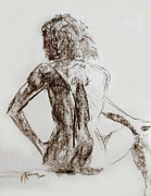 Figure Drawing Pastels Prints - Backward Glance Print by Karen A Robinson