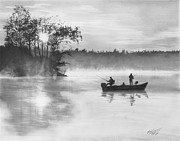 Fishing Drawings Originals - Backwater Sunset by Brian Christensen