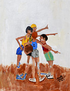 Basketball Paintings - Backyard Basketball by Swabby Soileau