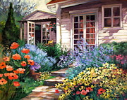 French Door Paintings - Backyard Beauties by Dianna  Willman
