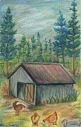 House Pastels - Backyard Chickens by Barbara Cleveland