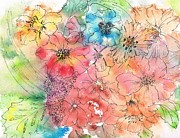 Ink Drawing Paintings - Backyard Garden by Christine Crawford