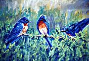 Bluebird Pastels Framed Prints - Backyard Gossip Framed Print by Jimmie Trotter
