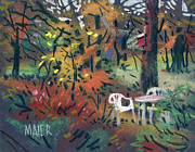 Lawn Pastels Posters - Backyard in Autumn Poster by Donald Maier