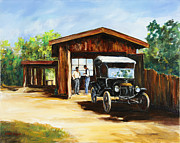 Ford Model T Car Painting Posters - Backyard Mechanics Poster by Gary Wynn