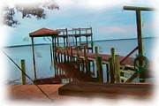 Michael Maynor Art - Backyard Pier by Michael Maynor