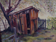 Shed Paintings - Backyard Shed by Charme Curtin