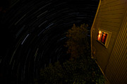 Startrails Photo Prints - Backyard Star Trails Print by Mike Horvath