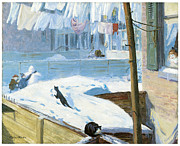 Snow Scene Paintings - Backyards Greenwich Village by John Sloan
