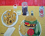 French Fries Painting Posters - Bacon Cheeseburger Deluxe Poster by Norma Tolliver