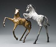 Equine Sculpture Sculptures - Bad Boys by Mindy Colton