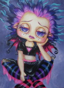 Brow Posters - Bad Hair Day Lil Gothie Poster by Heather Valentin