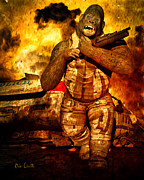 Destruction Digital Art Metal Prints - Bad Monkey Metal Print by Bob Orsillo
