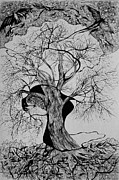 Tree Creature Drawings Framed Prints - Bad Mood Framed Print by Anna  Duyunova