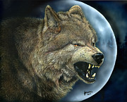 Growling Painting Prints - Bad Moon Print by Judi Roberts