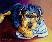 Pets Paintings - Bad Puppy Airedale Terrier by Lyn Cook