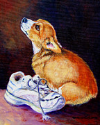 Tennis Shoe Art - Bad Puppy Pembroke Welsh Corgi by Lyn Cook