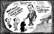 Thedailydose.com Drawings Originals - Bad RECEPtion in Cairo by Yasha Harari