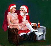 Christmas Card Greeting Cards - Bad Santa by Mary Giacomini