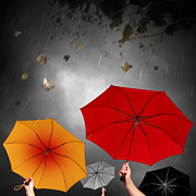 Umbrella Prints - Bad Weather Print by Carlos Caetano