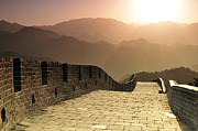 Sunrise  Posters - Badaling Great Wall, Beijing Poster by Huang Xin
