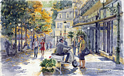 Watercolor Framed Prints - Baden-Baden Sophienstr Last Warm Day Framed Print by Yuriy  Shevchuk