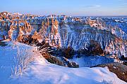 Sunset; Ice Prints - Badlands at Sunset Print by Larry Ricker