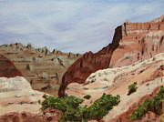 Badlands Painting Originals - Badlands I by Alan Mager