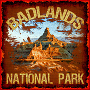 Landscapes Digital Art Metal Prints - Badlands National Park Metal Print by David G Paul
