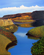 Badlands Painting Originals - Badlands River by Janet Greer Sammons