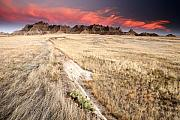 Great Plains Photos - Badlands Sunset by Eric Foltz