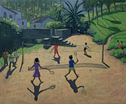 Playing Painting Prints - Badminton Print by Andrew Macara