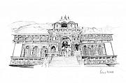 Tourism Drawings Prints - Badrinath Print by Padamvir Singh