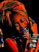 Record Producer Paintings - Badu by Vel Verrept