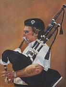 Milwaukee Parade  Pastels Posters - Bag pipe Poster by Leonor Thornton