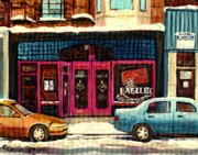 Winter Scenes Paintings - Bagels Etc Montreal by Carole Spandau