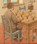 Dog Drawings Prints - Bagels Letters OUOC Print by Kestutis Kasparavicius