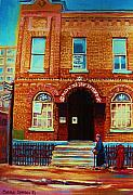 Montreal Landmarks Paintings - Bagg Street Synagogue by Carole Spandau