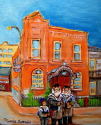 Montreal Judaica Paintings - Bagg Street Synagogue Sabbath by Carole Spandau