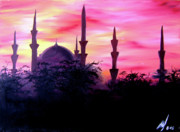 Sunset Greeting Cards Painting Posters - Baghdad Sunset Poster by Michael McKenzie