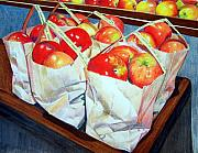 Food And Beverage Mixed Media Posters - Bags of Apples Poster by Constance Drescher