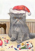 Gray Cat Paintings - Bah Humbug by Donna Tucker