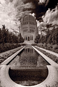 Faith Photo Posters - Bahai Temple Reflecting Pool Poster by Steve Gadomski